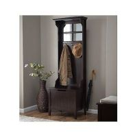 Wood Hall Tree Coat Rack Storage Bench Seat Mirror