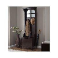 Wood Hall Tree Coat Rack Storage Bench Seat Mirror ...