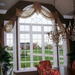 Kitchen Swags And Valances Corner Bench Sheer Arched | Custom Window Treatments Pinterest ...