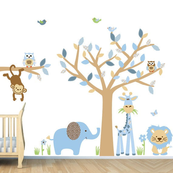 Repositionable Baby Boy Room Jungle Wall Decals, Boy Room