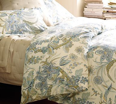Floral duvet set with green and blue Sydney Palampore