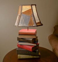 Book Lamp from Antique Books w/ Handmade Lampshade with ...