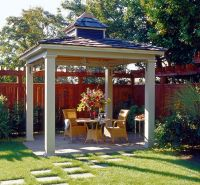 Simple hip roof pavilion with small cupola.