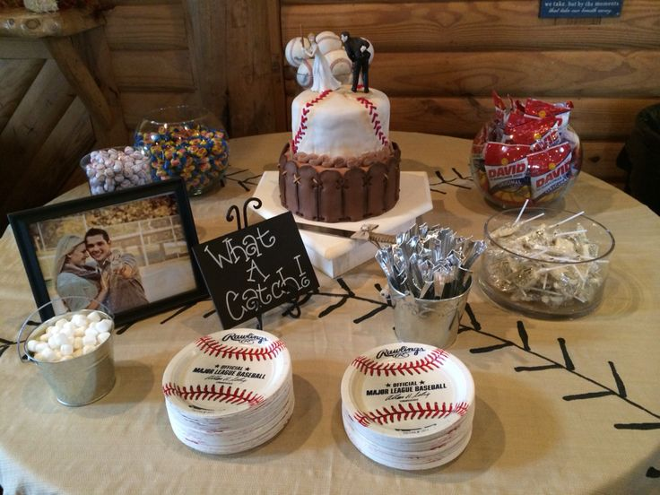 Grooms Cake I Made And The Table Decorations Baseball