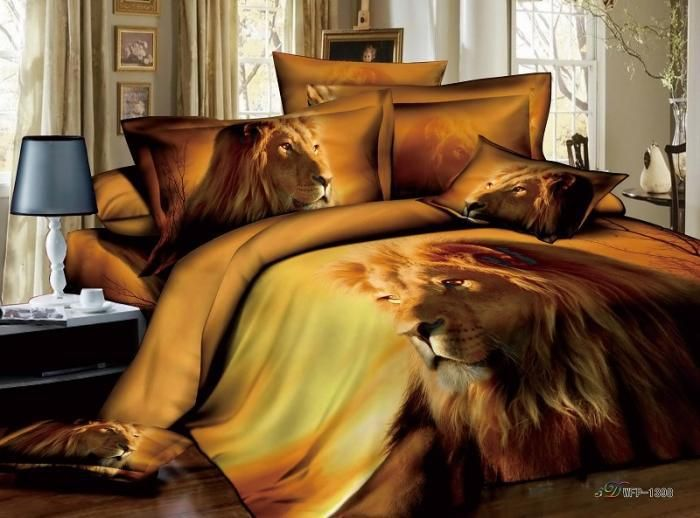 3d Animal Print Male Lion Manly Bedding Set Full Queen 100