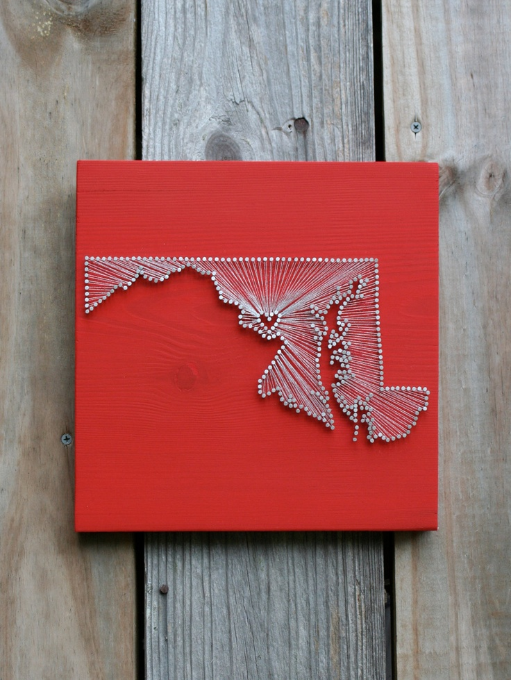 Maryland Love Reclaimed Wood Nail And String Art Tribute To The Old Line State Creativity