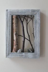 White Birch Bark Wall Hanging, Framed Tree Branch, Cottage ...