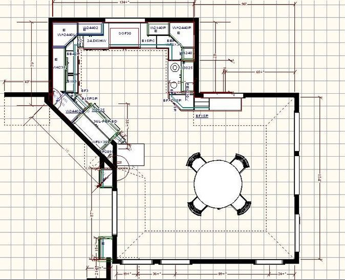 Kitchen Floor Plan With Dining Area. I Think The Diagonal