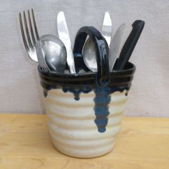 Ceramic Kitchen Canisters Sink Faucets Cutlery And Utensil Drainer Hand Thrown Terracotta Pottery ...