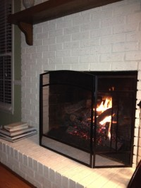 white painted brick fireplace - Google Search | Painted ...
