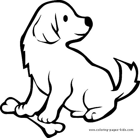 Puppy with a bone color page, animal coloring pages, color