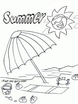 free printable summer beach umbrella coloring pages for