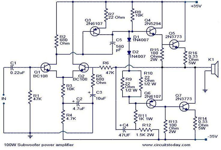 100 w subwoofer circuit diagram
