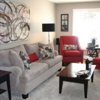 love the grey and red | Living Room / Family Room Ideas ...