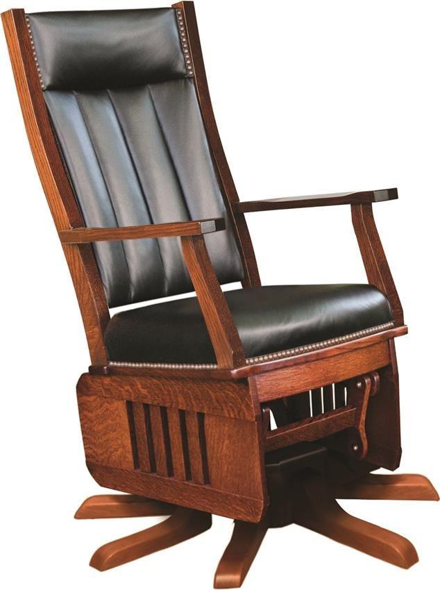 Amish Leola Mission Swivel Glider Rocking Chair  Rocking