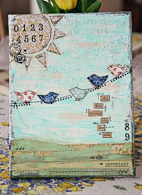 Paint the background, cut birds out birthday cards you received and glue them on