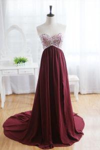 Wine Red Burgundy Chiffon Bridesmaid Dress Prom Dress ...