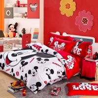 Red And White Mickey Mouse Head Kids Bedding For Christmas ...