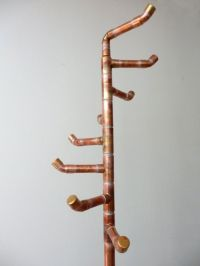 Free Standing Coat Rack, Reclaimed Copper Pipe, Coat Tree