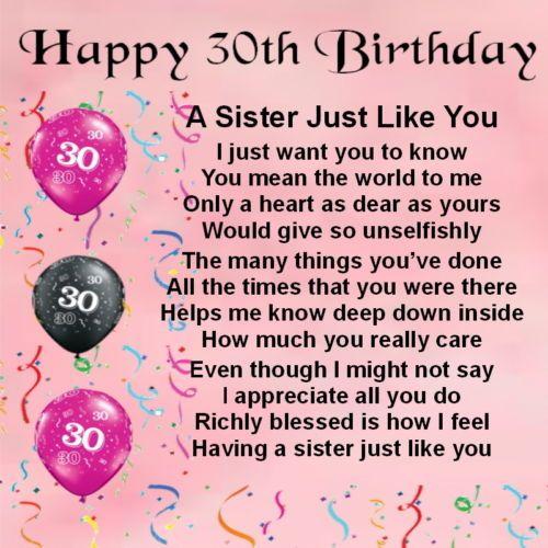 Personalised Coaster Sister Poem 30th Birthday FREE