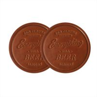 Leather coaster Set. Everything will beer alright. Drink ...