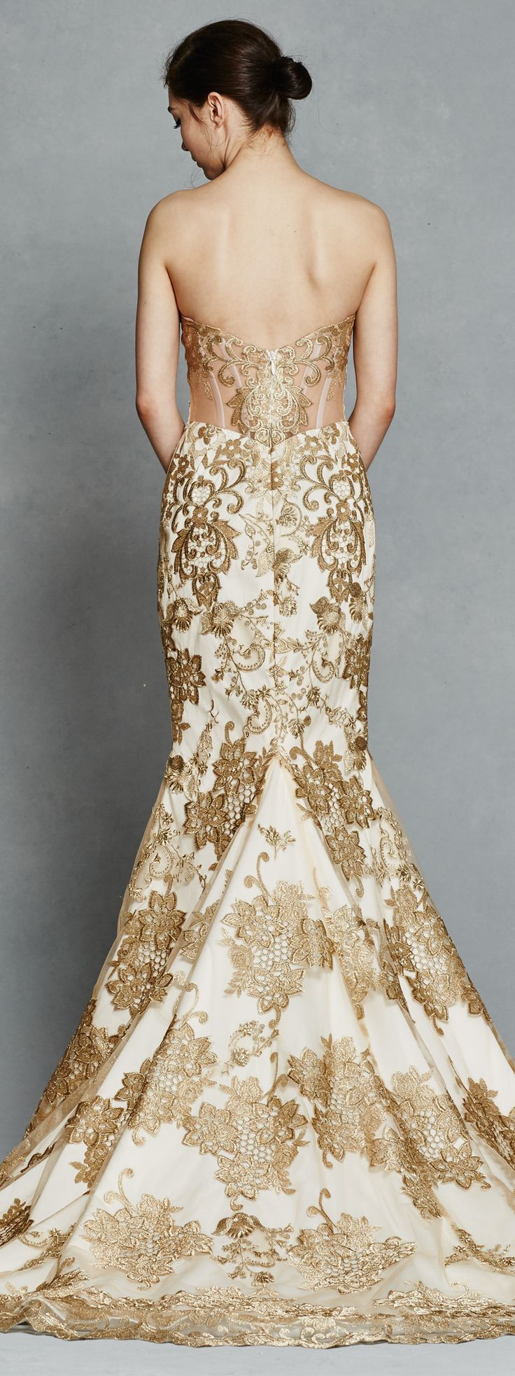 1000 ideas about Gold Wedding Dresses on Pinterest  Gold Weddings Gold Wedding Gowns and