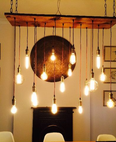 Reclaimed Wood Chandelier  17 Pendants  Customizable