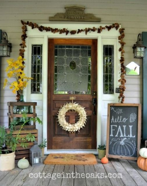 Autumn Cottage Front Porch::: Cottage in the Oaks  #autumn #fall