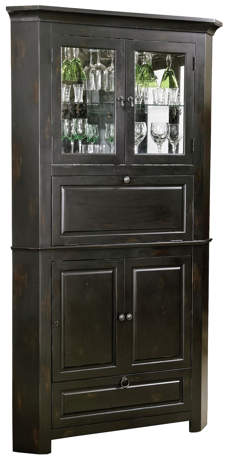 Rustic Corner Bar Cabinet  Distressed Wine  Bar Cabinet