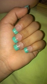 Decided I wanted them teal French tip with a simple ...