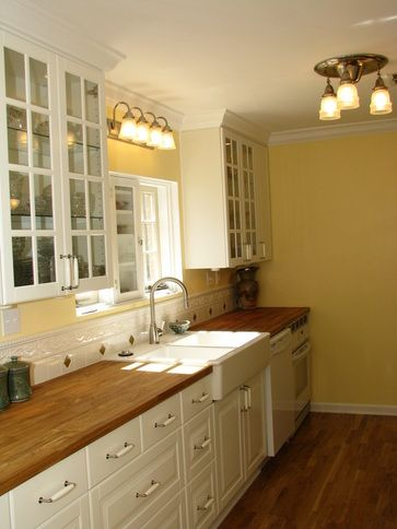 farmers sinks for kitchen big lots appliances butcher blocks, white cabinets and block ...