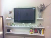 mounted tv & floating shelves! | bedroom ideas | Pinterest ...