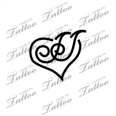 Letter J With Heart Tattoo