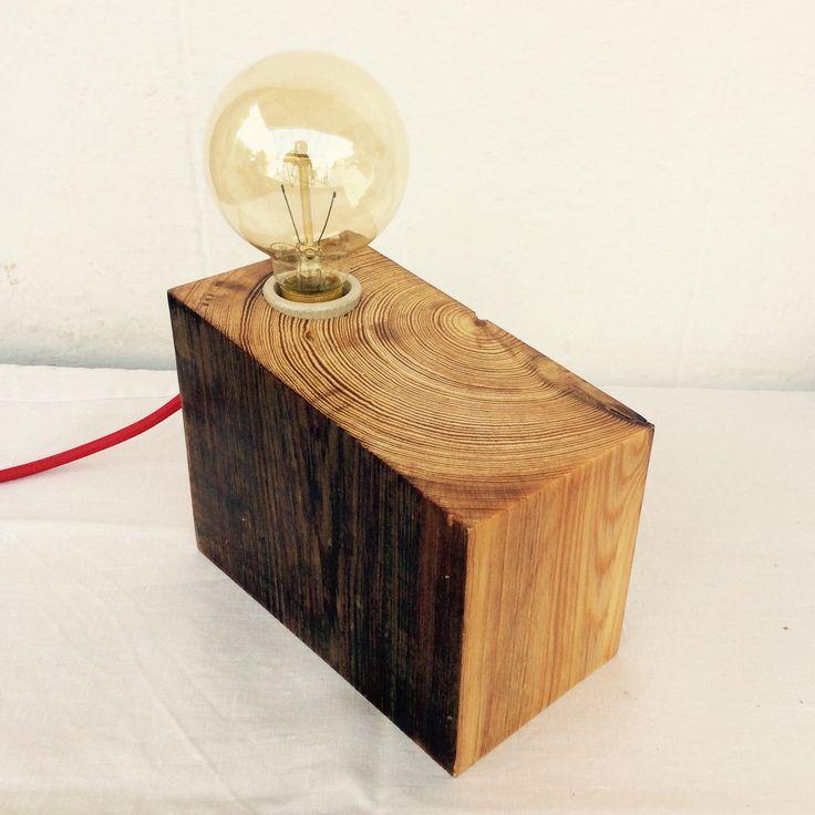 Lmpara de madera reciclada y lmpara vintage  La Noble