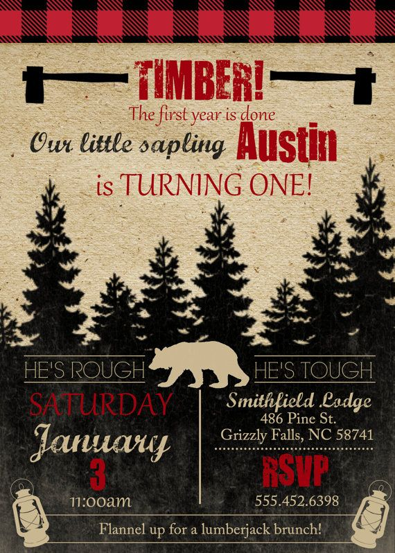 Lumberjack Theme Birthday Party Invite Boys Birthday