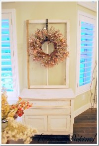 Hang a wreath from an old window..love the paint color too ...