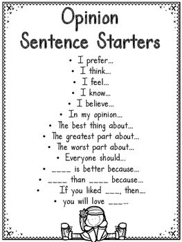 Topic Sentence Starters For Persuasive Essays For 5th