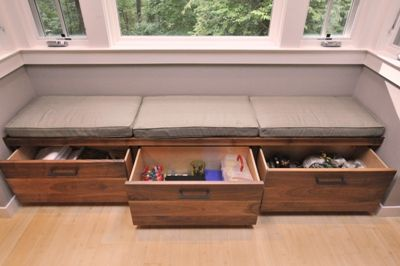 Modern Bench Drawers Custom Built In Bench Seating Area