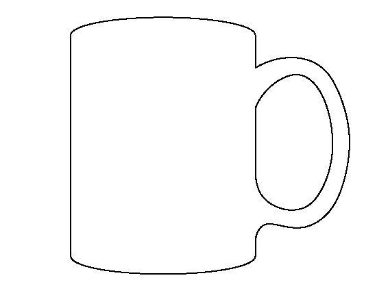Mug pattern. Use the printable outline for crafts