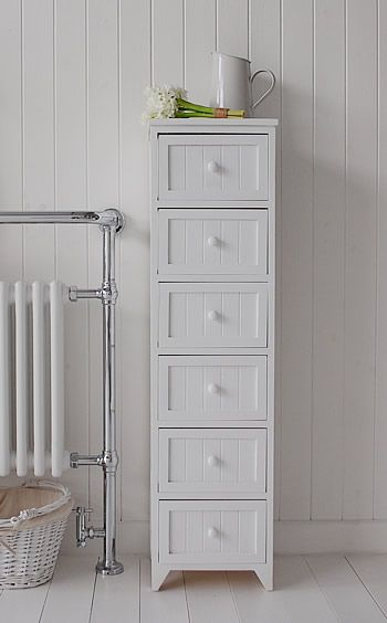 Maine Narrow tall Freestanding Bathroom Cabinet with 6