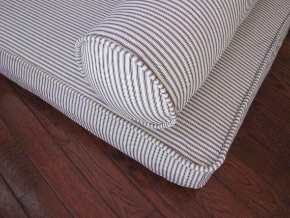 Bolster Pillow Blue Ticking Neckroll Pillow Piped