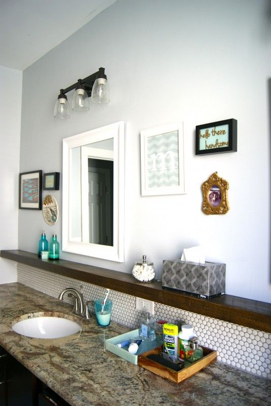 penny tile backsplash  floating shelf below mirror  DECORACION  Pinterest  Shelf ideas