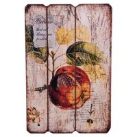 Paneled wood wall art with a distressed fruit and label ...