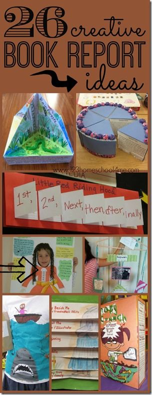 26 creative book report ideas – so many really unique and FUN book report projects for kids of all ages Kindergarten, 1st grade,