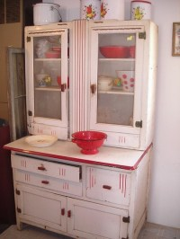 Hoosier Cabinet White with Red Trim | Hoosier cabinets ...