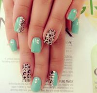 Cute cheetah print with mint color and rhinestones | Nail ...