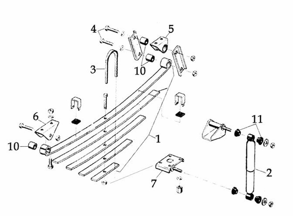 Jeep CJ Suspension Parts Exploded View Diagram (Years 1972
