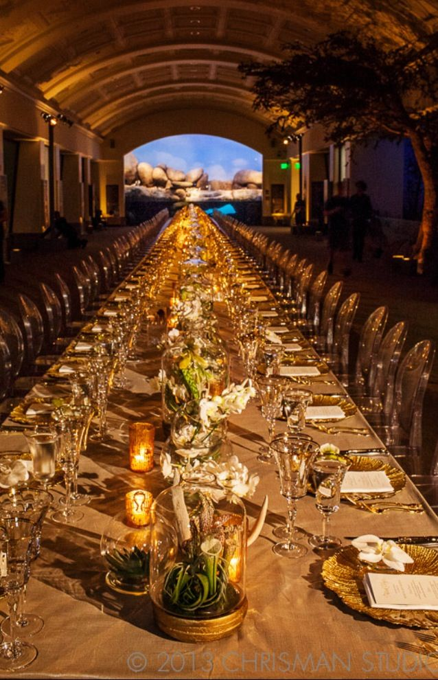 Kings Table with acrylic ghost chairs at the California Academy of Sciences weddingdecor