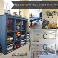 Boy bedroom toy storage solutions