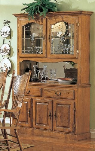 Country Style Solid Oak Wood Dining Room Buffet With Hutch